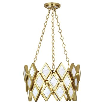 Shown in White Marble with Modern Brass finish, 18 inch