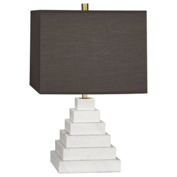 Shown in Carrara Marble with Smoke Gray Fabric shade