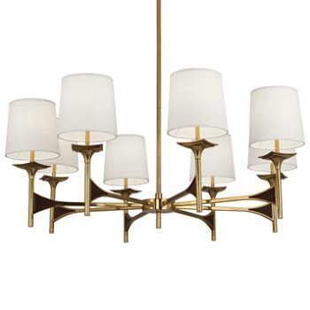 Shown in Modern Brass with Walnut accents
