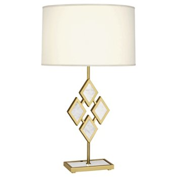 Shown in White Marble color, Fondine Fabric shade, Modern Brass finish