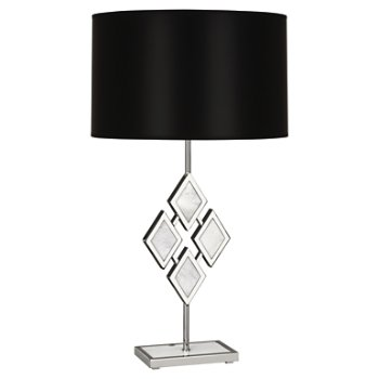 Shown in White Marble color, Black Parchment shade, Polished Nickel finish
