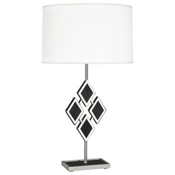 Shown in Black Marble color, Fondine Fabric shade, Polished Nickel finish,