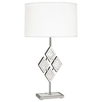 Shown in White Marble color, Fondine Fabric shade, Polished Nickel finish