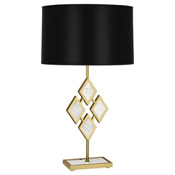 Shown in White Marble color, Black Opaque shade, Modern Brass finish