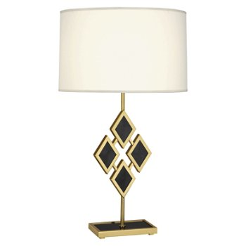 Shown in Black Marble color, Fondine Fabric shade, Modern Brass finish