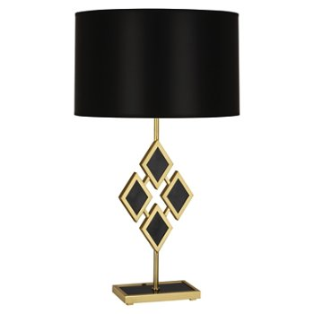 Shown in Black Marble color, Black Parchment shade, Modern Brass finish