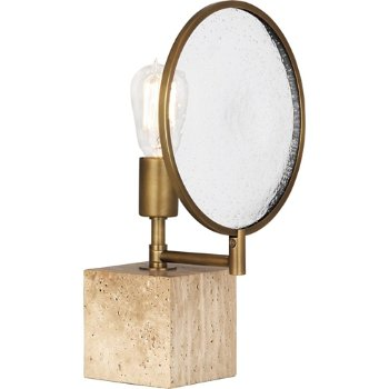 Shown in Aged Brass with Travertine Stone Base