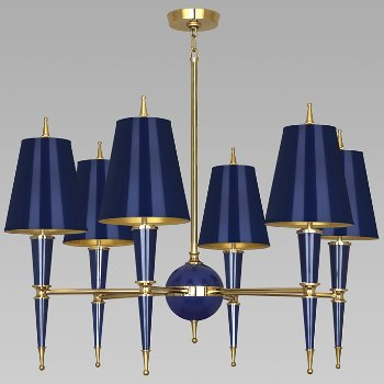 Shown in Cobalt with Cobalt Parchment shade with Modern Brass finish