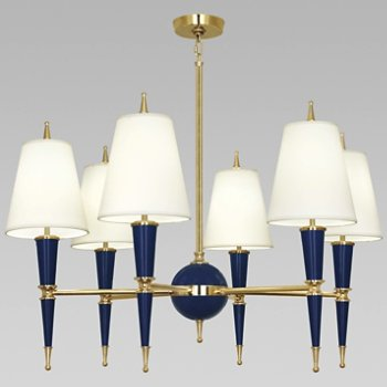 Shown in Cobalt with Fondine Fabric shade with Modern Brass finish