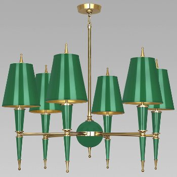 Shown in Emerald with Emerald Parchment shade with Modern Brass finish