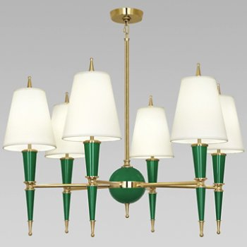 Shown in Emerald with Fondine Fabric shade with Modern Brass finish