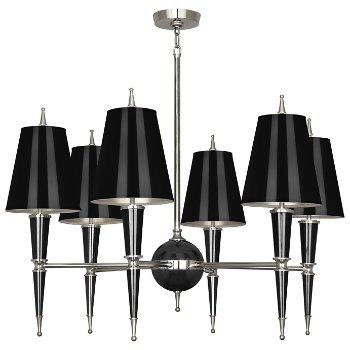Shown in Black with Black Parchment shade with Polished Nickel finish