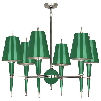 Shown in Emerald with Emerald Parchment shade with Polished Nickel finish