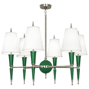 Shown in Emerald with Fondine Fabric shade with Polished Nickel finish