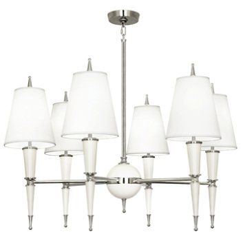 Shown in Lily with Fondine Fabric shade with Polished Nickel finish
