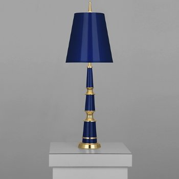 Shown in Cobalt with Fondine Fabric shade with Polished Nickel finish