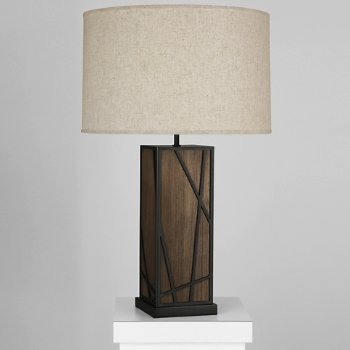 Shown in Bisque shade, Smoked Walnut Wood with Deep Patina Bronze finish