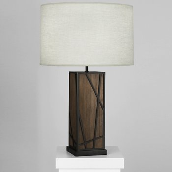 Shown in Oyster shade, Smoked Walnut Wood with Deep Patina Bronze finish