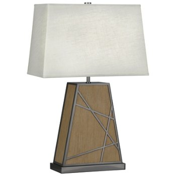 Shown in Oyster shade, Driftwood Oak Wood with Blackened Nickel finish