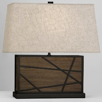 Shown in Bisque shade, Smoked Walnut Wood finish with Deep Patina Bronze finish