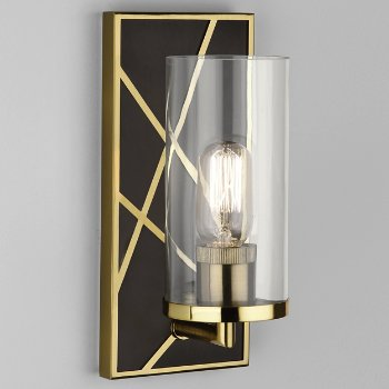 Shown in Deep Patina Bronze with Modern Brass finish, Clear glass color