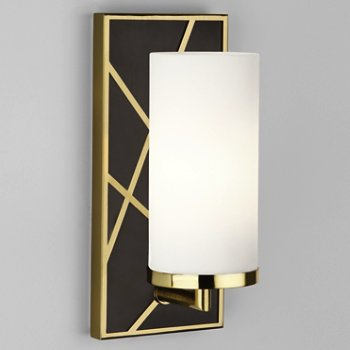 Shown in Deep Patina Bronze with Modern Brass finish, Frosted White glass color