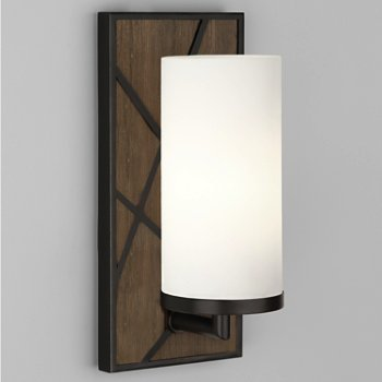 Shown in Smoked Walnut Wood with Deep Patina Bronze finish, Frosted White glass color