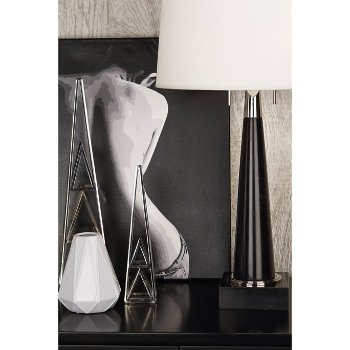 Shown in Black and Polished Nickel finish, Large size