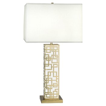 Shown in Modern Brass with White Lacquered Accents