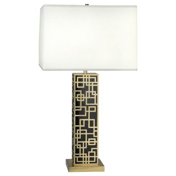 Shown in Modern Brass with Black Lacquered Accents
