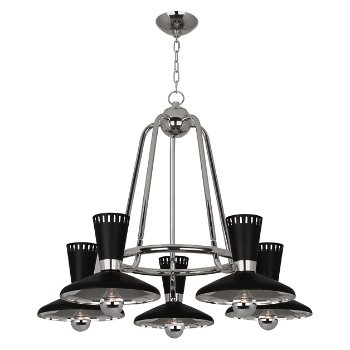 Shown in Polished Nickel,  5 LIght