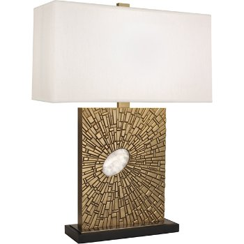 Shown in Antiqued Modern Brass finish with Pearl Shade color, Standard size