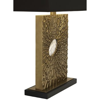 Shown in Antiqued Modern Brass finish with Black Shade color, Standard size