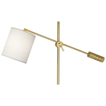 Shown in Modern Brass finish, Oyster Linen Shade, Detail view