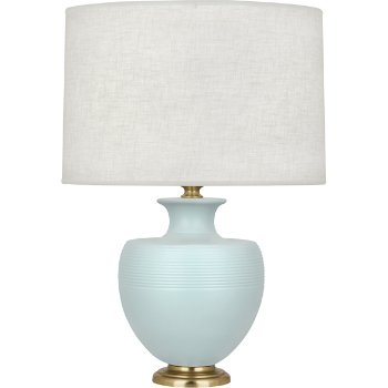 Shown in Matte Sky Blue Glazed Ceramic with Modern Brass accent finish