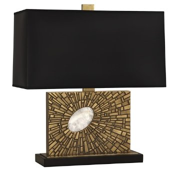 Shown in Black Opaque Parchment Shade Color with Antiqued Modern Brass finish