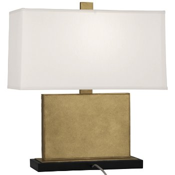Shown in Pearl Dupioni Silk Shade Color with Antiqued Modern Brass finish