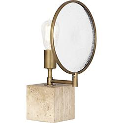 Fineas Accent Lamp (Aged Brass w/ Travertine Stone)-OPEN BOX
