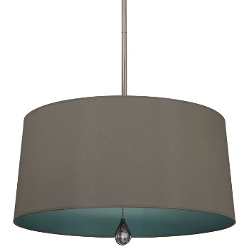 Shown in Carter Grey Shade with Mayo Teal Interior, Polished Nickel finish