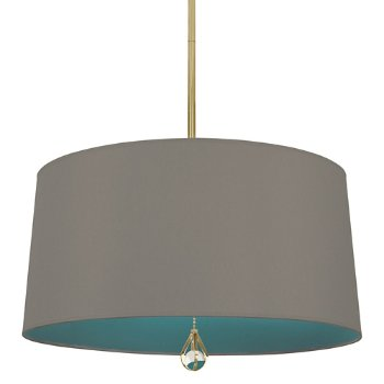 Shown in Carter Grey Shade with Mayo Teal Interior, Modern Brass finish