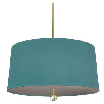 Shown in Mayo Teal Shade with Carter Grey Interior, Modern Brass finish