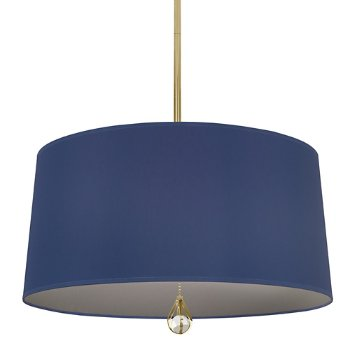 Shown in Ink Blue Shade with Carter Grey Interior, Modern Brass finish