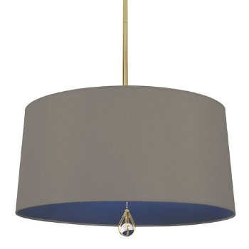 Shown in Carter Grey Shade with Ink Blue Interior, Modern Brass finish