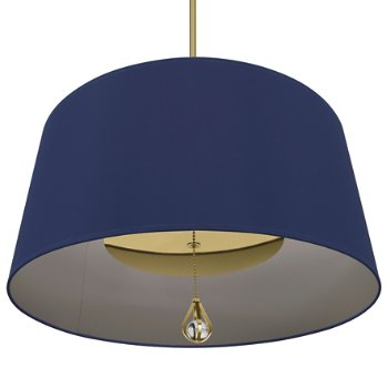 Shown in Ink Blue Shade with Carter Grey Interior, Modern Brass finish, lit