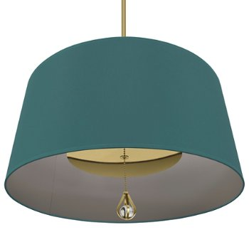 Shown in Mayo Teal Shade with Carter Grey Interior, Modern Brass finish, lit
