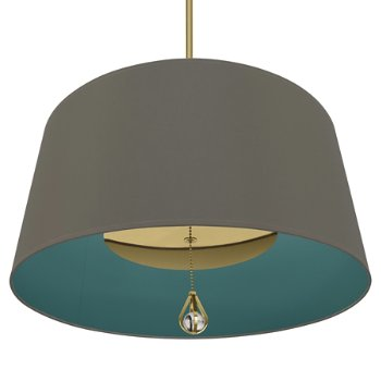 Shown in Carter Grey Shade with Mayo Teal Interior, Modern Brass finish, lit