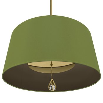 Shown in Parrot Green Shade with Revolutionary Storm Interior, Modern Brass finish, lit