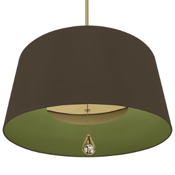Shown in Revolutionary Storm Shade with Parrot Green Interior, Modern Brass finish, lit
