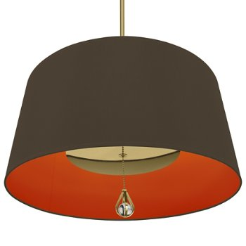 Shown in Revolutionary Storm Shade with William of Orange Interior, Modern Brass finish, lit