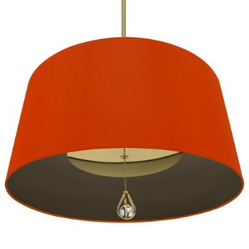 Shown in William of Orange Shade with Revolutionary Storm Interior, Modern Brass finish, lit